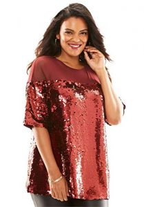 Red Sequin Tunic For Plus Size