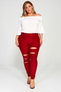 Ripped Jeggings in Plus Size