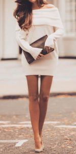 Sweater Dress With Cold Shoulder