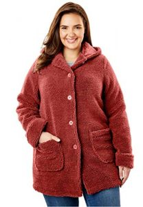 Women Plus Size Hooded Fleece Jacket