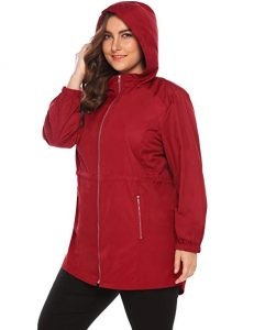 Women Red Windbreaker Jacket