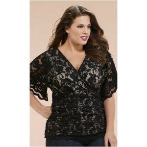 Women's Plus Size Black Lace Tops