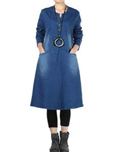 XXL Size Denim Shirt Dress