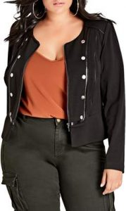 Black Plus Size Military Jacket