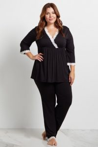 Black Plus Size Nursing Pajamas