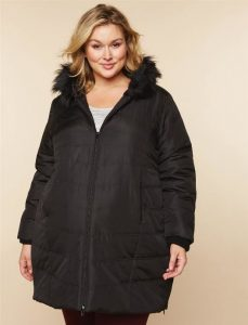 Black Quilted Maternity Coat Plus Size