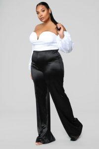 Black Satin Pants For Over Sized