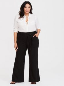 Black Wide Leg Linen Trousers