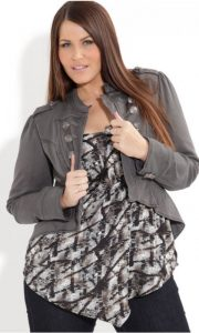 Cropped Military Jacket For Plus Size