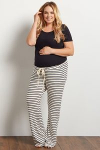 Drawstring Plus Maternity Pajama Pants