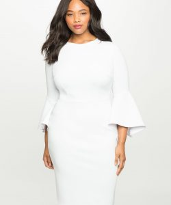 Flare Sleeve White Dress In Plus Size
