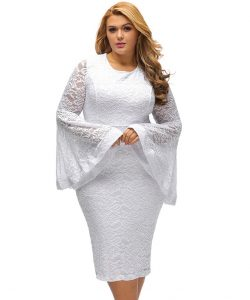 Floral Lace Plus Size White Dress