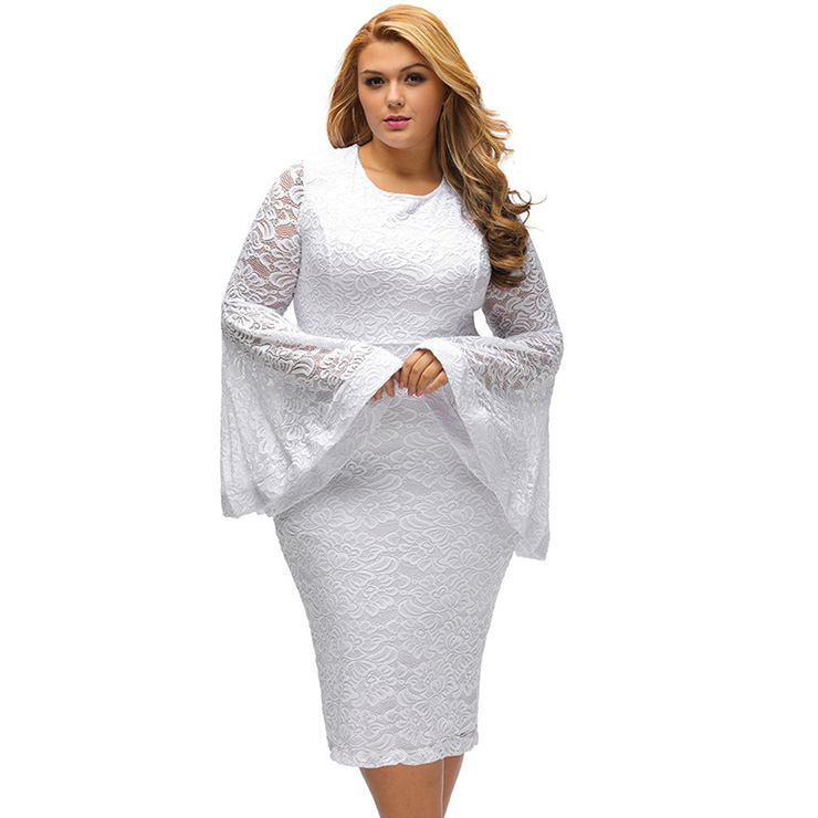 Plus Size Long Sleeve White Dress for Women