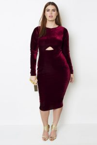 Knee Length Burgandy Velvet Dress