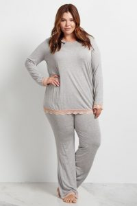 Lace Trim Plus Size Nursing Pajamas