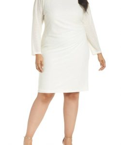 Long Sleeve White Short Dress Plus Size