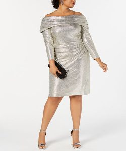 Metallic Off Shoulder Dress 4X