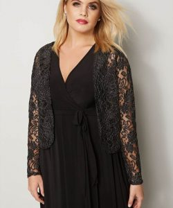 Plus Size Black Floral Shrug
