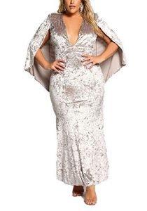 Plus Size Crushed Cape Velvet Gown