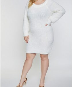 Plus Size Knitted White Dress