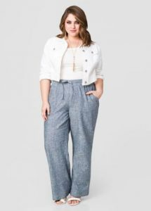 Plus Size Linen Pants Wide Leg