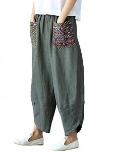 Plus Size Linen Trousers Wide Leg
