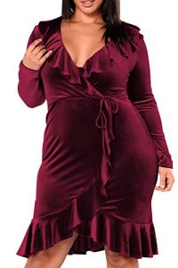 Plus Size Maroon Velvet Dress