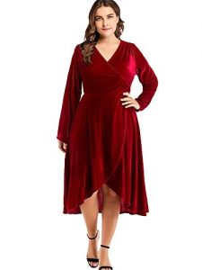 Plus Size Red Velvet Dress