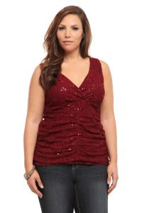 Plus Size Sequin Blouses Evening Wear