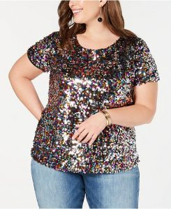Plus Size Sequin Evening Tops
