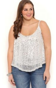 Plus Size Sequin Tops Evening Wear