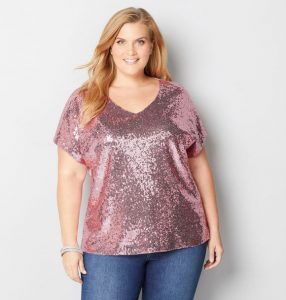 Plus Size Sequinned Tops For Evening
