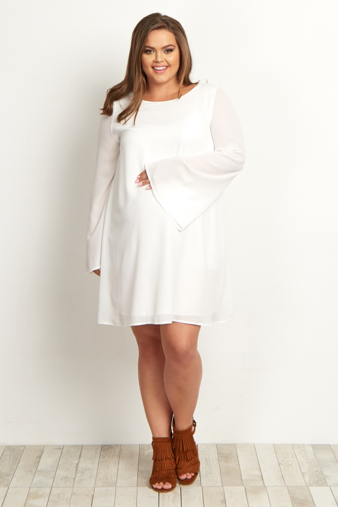 Plus Size White Maternity Dress - Attire Plus Size