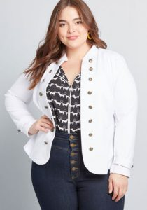 Plus Size White Military Jacket