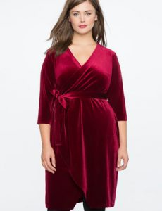 Plus Size Wrap Velvet Dress