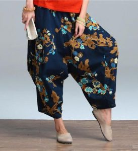 Printed Wide Leg Linen Pants