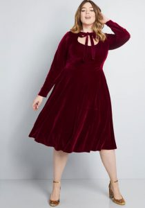 Red Velvet Dancing Dress For Women