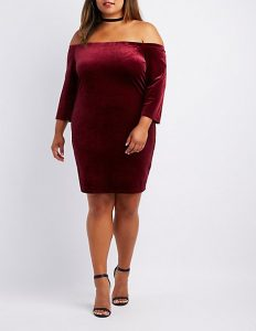 Red Velvet Dress For Plus Size