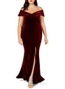 Red Velvet Formal Gown In Plus Size