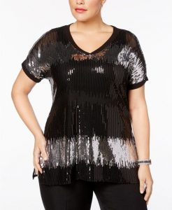 Sequin Evening Tops Plus Size