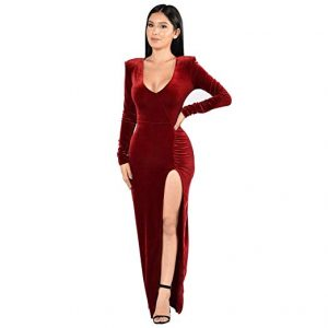 Side Slit Red Velvet Dress XL