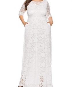 Simple White Lace Gown For Plus Size
