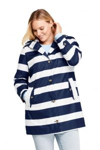 Striped Plus Size Rain Jackets