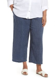 Striped Wide Leg Linen Pants 5X