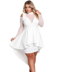White Dress With Long Sleeve Plus Size