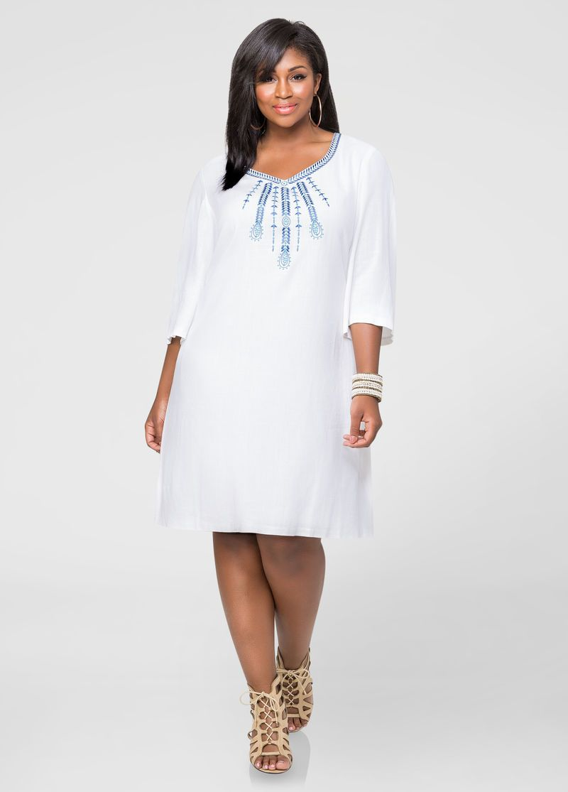 White Linen Dress Plus Sizes For Women Attire Plus Size