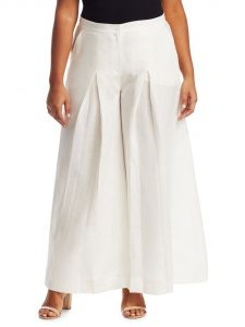 White Plus Size Linen Pants