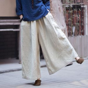 Women's Plus Size Linen Pants Wide Leg