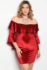 Women's Red Velvet Dress 5X