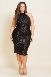 Black Plus Size Sequin Dress Cocktail